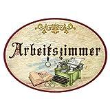 Kaltner Präsente Geschenkidee - Holz Türschild im Antik Design Motiv Büro ARBEITSZIMMER (Ø 18 cm)