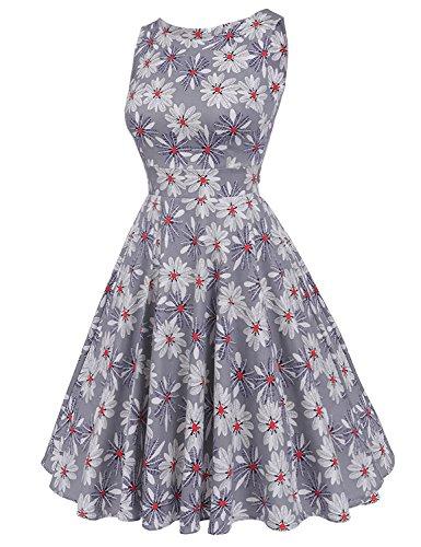 MisShow Damen Festliche Rundausschnitt ärmellos 50s 60er Retro Kleid Vintage Blumenkleid Rockabilly Kleid Partykleider Cocktailkleider Grau Gr.S - 3