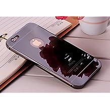 Espejo Carcasa para iPhone 5 / 5S [Color Negro], Belleza Aleación de Aluminio Funda Ultra Delgada de Metal Electrochapa Plating Bumper Case Cover Mirror Espalda Panel Duro Caso de la Cubierta para iPhone 5 / 5S