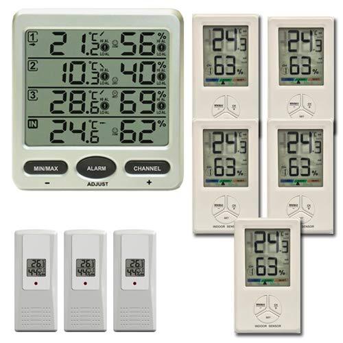froggit FT0073 Funkthermometer mit 8 Funksensoren (3 x FT01 + 5 FT Comfort) Luftfeuchte LCD Display Min/max