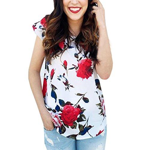 MORCHAN Femmes été imprimé Floral t-Shirt à Manches Courtes O Cou décontracté Haut Chemisier MORCHAN