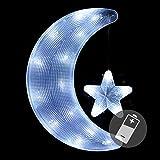 Nipach GmbH Fensterbild Mond mit Stern mit Saugnapf beleuchtet 20 LED Leuchtfarbe kalt weiß Mondsichel Weihnachten Weihnachtsdeko Weihnachtsbeleuchtung Fensterdeko Fensterlicht Batterie Xmas