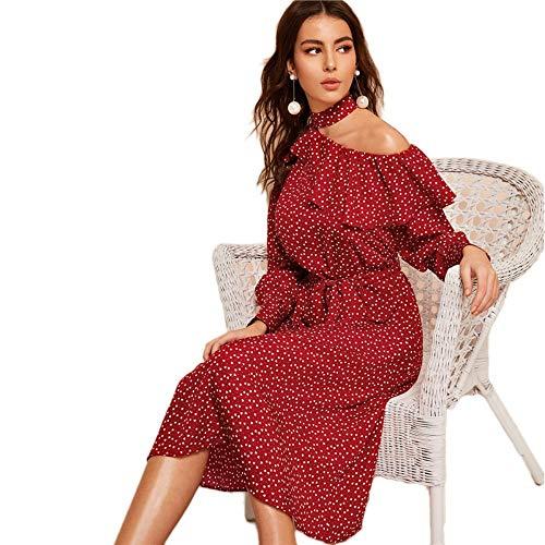 JJHR Kleider Polka Dot Print Ruffle Trim Ausschnitt Kleid Damen Kleidung Glamorous Long Sleeve Belted Midi Dress, S Belted Ruffle Trim