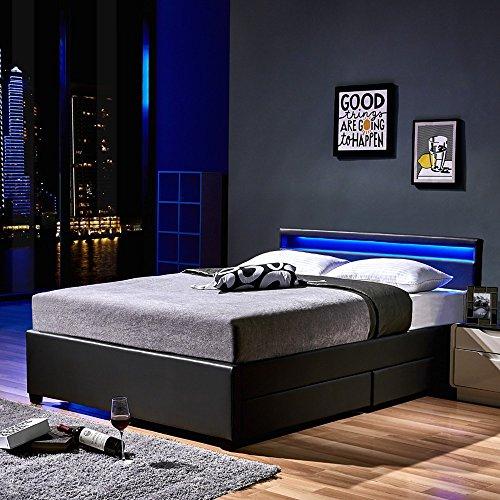 Home Deluxe LED Bett | Nube | Dunkelgrau | inkl. Schublade | Verschiedene Größen | 180 x 200 cm (Leder Und Fußteil Kopfteil)