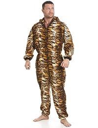 Combinaison pyjama en polaire avec poches - motif tigre - homme - doré/marron - taille S à 5 XL