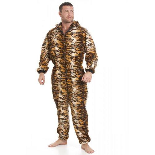 Combinaison pyjama en polaire avec poches - motif tigre - homme - doré/marron - taille S à 5 XL XXLARGE