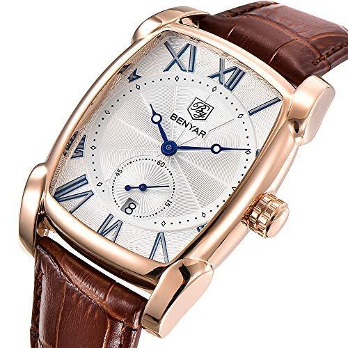 BY BENYAR - Stylische Business-Armbanduhr für Herren | Braunes Lederarmband | Quarzwerk | Analoge römische Zahl | Weißes Zifferblatt | 30M Wasser- und Kratzfest Anlass
