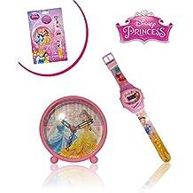 Reloj + Despertador infantiles con motivo de PRINCESAS DISNEY / Perfecto regalo – DISNEY WD10434 mws1733