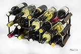Legno Classic 15 bottiglia in rovere tinto scuro e metallo zincato vino rack autoassemblaggio