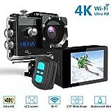 Hieha H68 4K Action Kamera Sport Actioncam Helmkamera Unterwasserkamera Full HD WiFi 20MP 170° Weitwinkel Wasserdicht mit Fernbedienung Zubehör Kit kompatibel mit Dronen