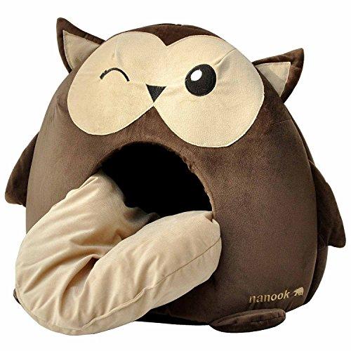 """nanook """"Sweety"""" – Hundehöhle Katzenhöhle – mit großem Kissen, wasserabweisend, rutschfest, Größe M (42 x 42 x 36 cm) – Motiv: Eule - 3"""