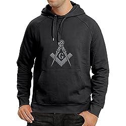 """Sudadera con capucha Albañiles (masones) - accesorios para hombres con los símbolos """"escuadra y el compás"""" Masónico (X-Large Negro Plata)"""
