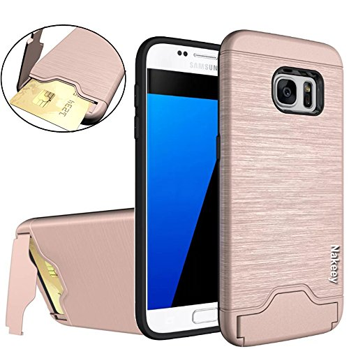 Galaxy S7 Hülle, Nakeey Slim Hybrid Dual Layer Bumper Schutzhülle [Card Slot] Handyhülle Cover Ständer für Samsung Galaxy S7,Rose Gold (Slim-layer-karte)
