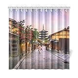QuqUshop Home Decor Tenda da Bagno Ragazza Giapponese Yukata Ombrello Rosso Tessuto in Poliestere Antico Impermeabile Tenda da Doccia per Bagno, 72 X 72 Pollici Tende da Doccia Ganci Inclusi