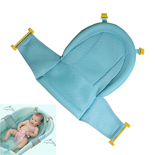 Baby Bath Support Seat, Newborn Shower Mesh for Bathtub, Adjustable Comfortable Non-Slip Bath Seat for Infant 0-3 Years (Green)