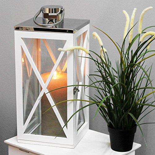 Multistore 2002 Holz Laterne mit Edelstahldach H46cm Gartenlaterne Holzlaterne Windlicht mit Henkel Holzgestell mit Glasfenstern Kerzenhalter
