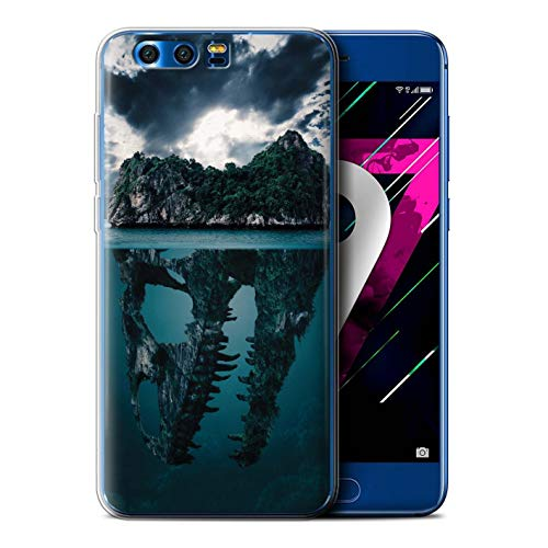 eSwish Gel TPU Hülle/Case für Huawei Honor 9 / Tropische Insel/T-Rex Muster/Dinosaurier Jurassic Earth Kollektion T-rex-mobile Handy