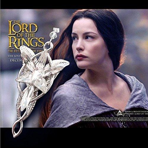 HGAMY The Lord of The Rings Elfe Prinzessin Arwen Evenstar Halskette mit 7 Pieces Weiß/Blauer Kristall (Farbe: - Arwen Kostüm Weiß