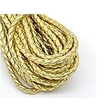 creafirm–5m Kordel Rund Kunstleder geflochten Gold 5mm