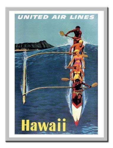 Hawaii United Airlines (iPosters Hawaii Von United Airlines Travel Memo Board, Magnet Silver gerahmt-41x 31cms (ca. 40,6x 30,5cm))