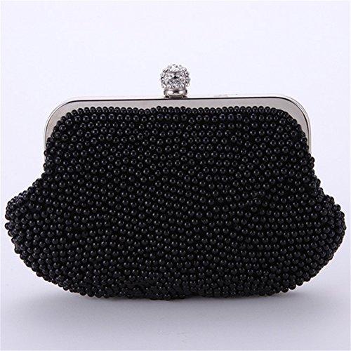 ERGEOB® Donna Clutch sacchetto di sera borsetta Clutch piccola perla diamante frizione Borsa della sposa matrimonio taschino nero