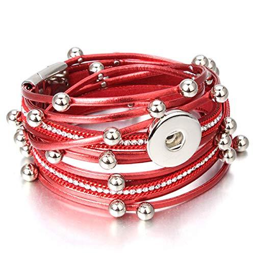Armreif mit Kette, Jewelry Vintage Crystal Leather 18Mm Snap Button Bracelet Bangle Punk Multilayer Leather Bracelet Wrap Bracelets 1