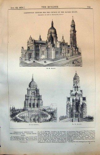 Antiker Druck-Wettbewerb Entwirft Kirchen-Heiliges Herz, Um Errichtetes Paris 1874 Zu Sein