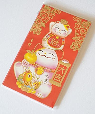 Chinese Red Money Envelopes with gold colored calligraphy and decorations ( Lucky Cat Hong Bao Money Envelope). by Wisdom