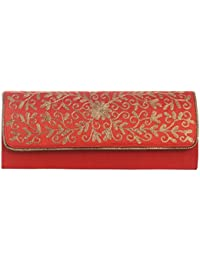 Mela Partywear Golden Embroidered Clutches For Women - Orange (Size Large)