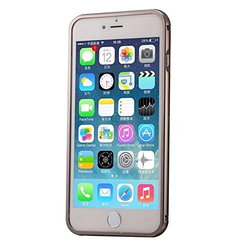 Phone case & Hülle Für iPhone 6 / 6s, Diamond verkrustet Push-Pull-Stil Metallbeschichtung Stoßfänger + Acryl Back Cover Kombination Fall ( Color : Grey ) Black