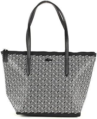 LACOSTE L.12.12 Concept Croc Medium Small Shopping Bag Black White