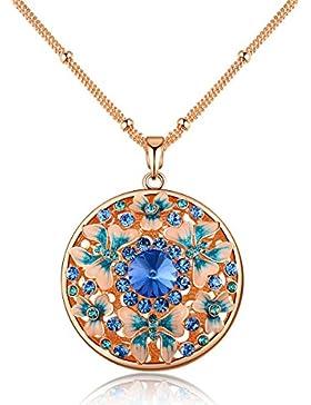 City Ouna® Österreichischen Kristall Retro Vintage Circle Anhänger blauer Schmetterling Halskette langkettige...