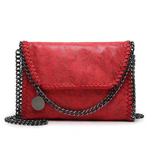KAMIERFA Damen Metallic Umhängetasche mit Kette Shopper Beuteltasche Lässig Stil Rot (Rot-damen-umhängetasche)