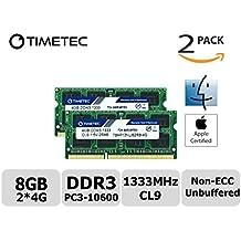 Timetec Hynix IC Apple 8GB Kit (2x4GB) DDR3 1333MHz PC3-10600 SODIMM Memory Upgrade For MacBook Pro 13/15/17 inch Early/Late 2011,iMac 21.5-inch Mid/Late 2010/2011,27-inch Mid 2010/2011,Mac mini 5,1 & 5,2 Mid 2011 (8GB Kit (2x4GB))