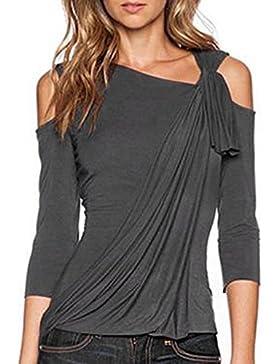 Sky Mujeres La Sra Tirantes Camiseta de La Camisa Summer Loose Top Off Shoulder Blouse Ladies Casual Tops T-Shirt...