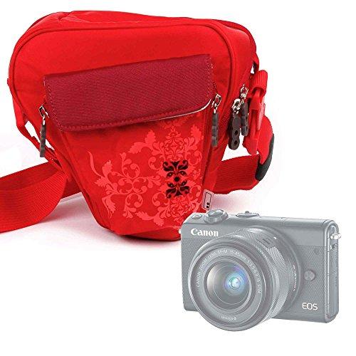 Galleria fotografica Borsa Donna Per fotocamera Canon EOS M100 - Con Maniglia / Tracolla - Colore Rosso - DURAGADGET