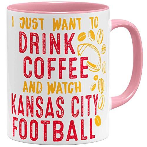 OM3® - Kansas-City-Coffee - Tasse | Keramik Becher | American Football Mug | 11oz 325ml | Beidseitig Bedruckt | Rosa