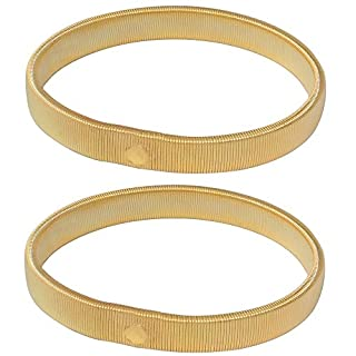 Accessotech 1 Pair Sprung Metal Shirt Sleeve Holders Arm Bands Garters Elasticated Formal (Gold)