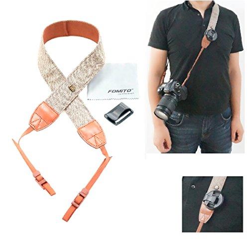 Fomito - Correa de hombro para cámaras réflex Nikon, Canon, Sony, Pentax, diseño clásico estilo vintage con tela blanca y marrón