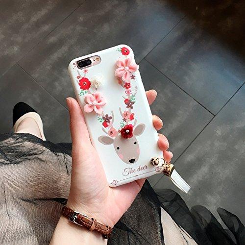 Hülle für iPhone 7 plus , Schutzhülle Für iPhone 7 Plus 3D Blumen und Hirsch Muster Soft TPU Rückseiten Fall Fall mit Lanyard ,hülle für iPhone 7 plus , case for iphone 7 plus ( Color : White ) White