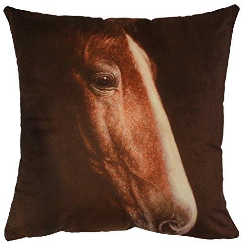 sterxy Pferd Kopf Bild Samt Kissenbezug 45,7x 45,7cm, braun