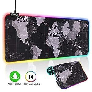 Hiveseen RGB Mauspad, 800x300mm Großes Gaming Mauspad with 14 LED Beleuchtungs Modi, wasserdichte Optimale Gleitfläche, Anti Rutsch Gaming Matte für Computer, PC und Professionelle Gamer-Weltkarte