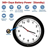 Hidden Spy Camera Wi-Fi Wall Clock Motion Activated With 365 Days Battery Power Over Internet Wi-Fi and 720P Live View Pinhole Adjustable Hidden Camera Lens for Home Security