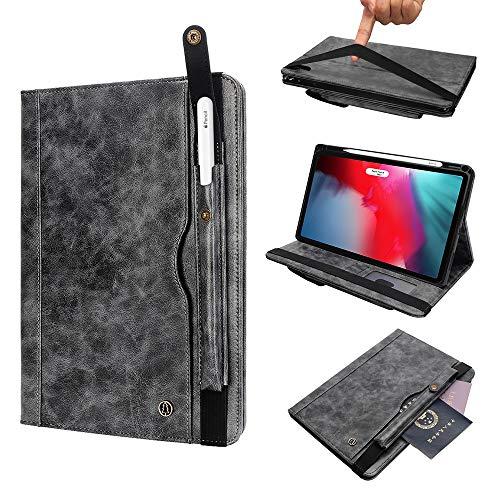 Miya Case für iPad Pro 12,9 Zoll, Trifoldständer Pu-Lederabdeckung mit Stifthalter Kartenhalter Eingabe Smart Cover Folio Flip-Schutzhülle iPad Pro 12.9 Displayschutzfolie für Herren Damen Kinder-Grau (Ipad Folios)