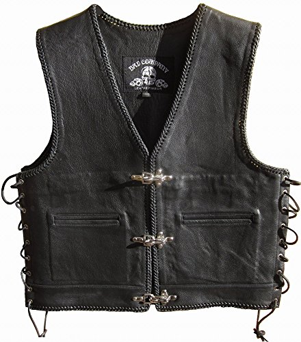 """Bad Company Leatherwear Steve"""" Clubweste aus Glattleder in Schwarz mit Passbeltaschen Taschen für Motorradfahrer und Biker (XL/54, Schwarz)"""