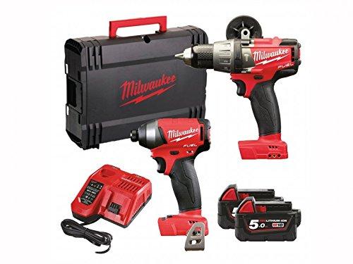 Milwaukee M18FPP2A-502X M18 Fuel Twin Pack (M18 FPD trapano a percussione, M18 FID avvitatore massa battente, 2 batterie da 5,0 ah, caricatore veloce, valigetta)