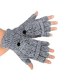 caripe 1 Paar Handschuhe fingerlos mit Klappe Fäustlinge Damen Strass Nieten- flip-top1