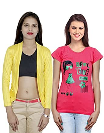 Indistar Women's Combo Pack of Viscose Shrug With Cotton Printed T-Shirt (Pack of 1 Shrug & 1 T-Shirt)