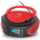 Lauson LLB992 Lettore CD FM/ MP3 / CD Portatile/PLL Stereo Boombox, Lettore USB, Schermo LCD, Lettore CD Stereo Portatile Picolo (Rosso)