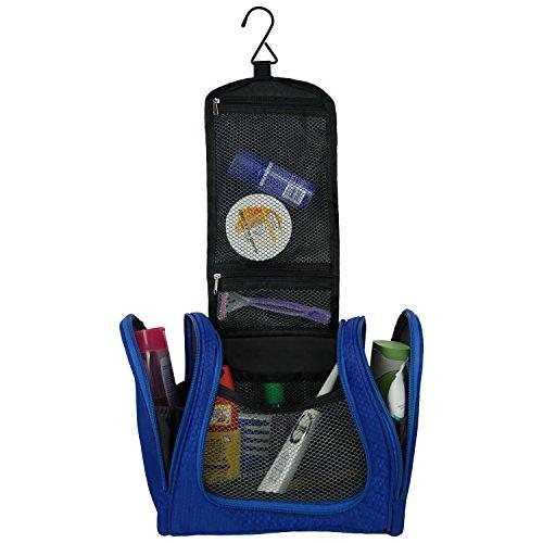 Waschtasche für Männer oder Jungen zum Aufhängen an stabilem Haken mit vielen Taschen und Reißverschluss. Blau. Wasserabweisend und lei...